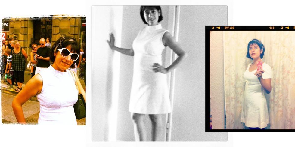 Vintage, vitt, klänningar